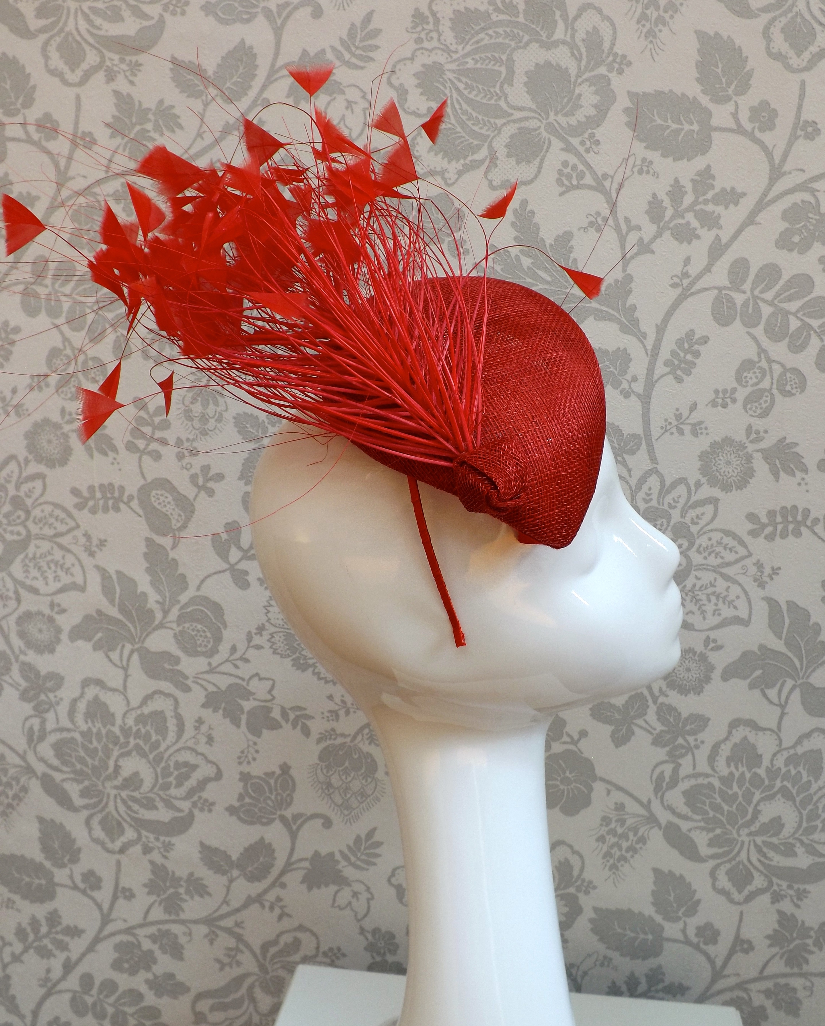 Red heart shaped pill box fascinator with feathers – Hat Hire ... 6e07a91094f